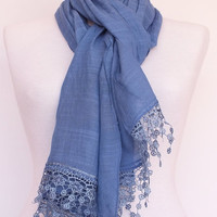 ON SALE Blue Cotton Scarf With Fringed Lace, Fashion, For Gift, For Spring