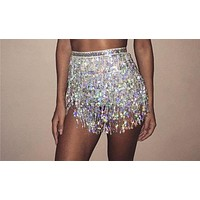 sequin fringe skirt waist belly body chain bikini swimsuit