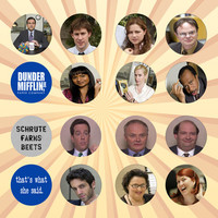 THE OFFICE Set of 16 - 1 Inch Pinback Buttons or Magnets