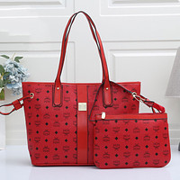 MCM Fashion Ladies Two-Piece Tote Bag, Classic Letters Fully Printed One Shoulder Messenger Bag Bucket Bag