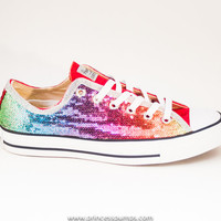Rainbow Colors Sequin Custom Canvas Converse Sneakers Shoes