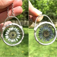 Daisy Double Sided Pendant Necklace