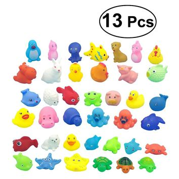 13pcs Baby Kids Bath Time Fun Sea Animals Bathtub Toys Floating Soft Bath Toys