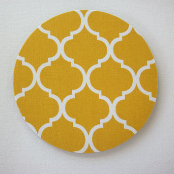 Mouse Pad mousepad / Mat - Rectangle or round - mustard yellow trellis - cubicle decor office desk coworker gift