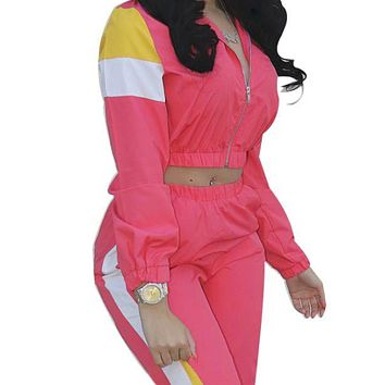 Explosive hot sale hit color stitching two-piece casual suit