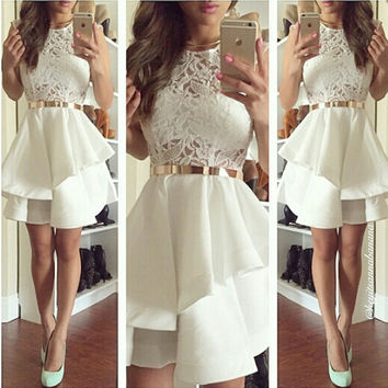2017 Short Cocktail Dresses A-Line Satin and Lace Ruffles Formal Party Gowns with Sash Scoop Neck Women Special Occasion Vestido