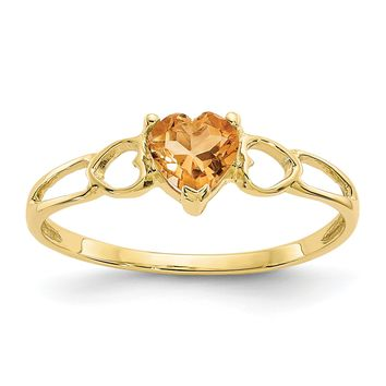 14k or 10k Yellow Gold Genuine Citrine Heart November Birthstone Ring
