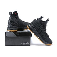 Nike LeBron 15 XV Black-Raw Basketball Shoe