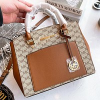 Hipgirls MK Michael Kors Fashion new more letter leather shopping leisure shoulder bag crossbody bag handbag Brown
