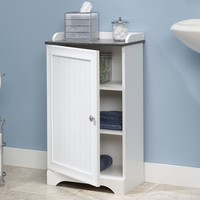 Bathroom Floor Cabinet with Adjustable Shelves in White Finish
