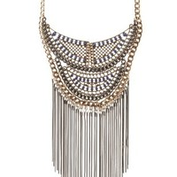 Mixed Metal Chain & Fringe Statement Necklace