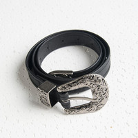 Black PU Embossed Buckle Waist Belt