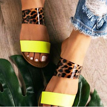 Women Leopard Print Casual Personality Flat Shoes Slippers Sandals