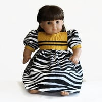 Zebra Doll Dress Golden Yellow Black White Modern Birthday Party Summer Spring Bitty Twin 14 to 16 inch Clothes --US Shipping Included