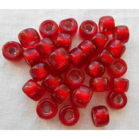 Lot of 25 9mm Czech Ruby Red Silver Lined glass pony roller beads, large hole crow beads, C6625
