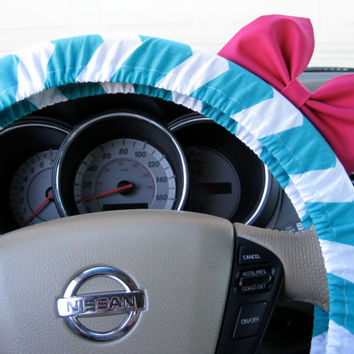 The Original Inky Aqua and White Chevron Steering Wheel Cover with Matching Bright Brink Pink Bow - Little Mermaid Inspired