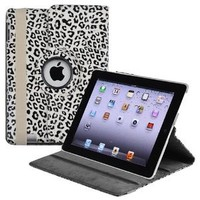 eForCity 360-degree Swivel Leather Case Compatible with Apple® iPad® 2 / iPad® 3rd Gen / The new iPad® / iPad® with Retina display / iPad® 4, White / Black Leopard: Computers & Accessories