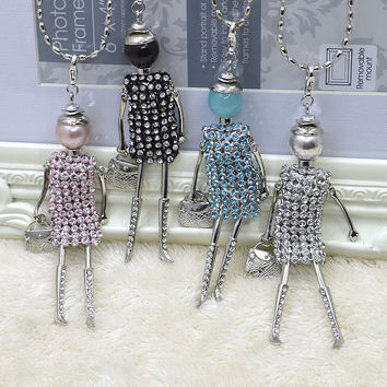 2015New Fashion doll Pendant Necklace Jewelry sales lovely dress doll pendant jewelry women doll necklace free shipping