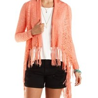 Fringed Pointelle Cascade Cardigan by Charlotte Russe