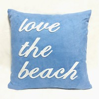 Love The Beach Blue And White Decorative Pillow Cover. 17inch Coastal