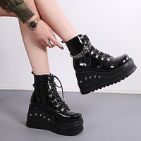 Women Patent Leather Chain Platform Ankle Boots