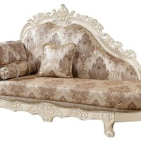 Serena Chaise Pearl White Finish With Silver Accents