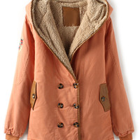 ROMWE | ROMWE Double-breasted Panel Faux Leather Hooded Pink Coat, The Latest Street Fashion