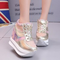 Women Casual Shoes High heels 2018 Spring Women Wedges Shoes Fashion Sequins Breathable Lace-Up Women Sneakers