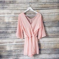 Georgia Peach V Neck Romper