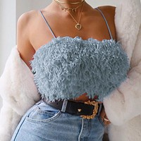Women Fashion Hairy Wrap Chest Sleeveless Strap Small Vest Crop Tops