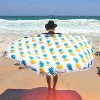Pineapple Pattern Beach Scarf Shawl Spa Bath Swimming Thick Towel Mat