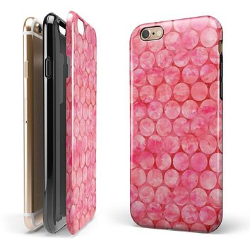 Pink Sorted Large Watercolor Polka Dots iPhone 6/6s or 6/6s Plus 2-Piece Hybrid INK-Fuzed Case