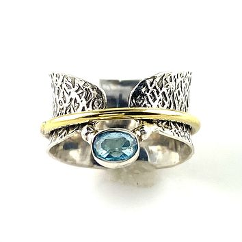 Blue Topaz Two Tone Sterling Silver Bridge Spinner Ring