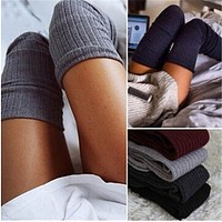 1 pair Solid Colors Knitted Sexy Stocking Women Warm Thigh High Over the Knee Socks Fashion Ladies Stockings NQ951395