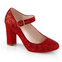 Fabulicious Red Glitter Mary Jane Pumps