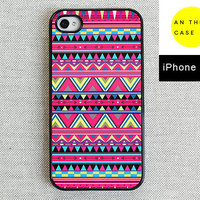iPhone 4 case iPhone 4S case  hot pink Aztec print by AnotherCase
