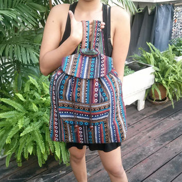 Tribal Hmong Woven Backpack Boho Hippie Indian Ethnic Rucksack Hipster Aztec Gypsy Shoulder Nepali Patterns Bags Hippie Purse Cross Body