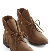 ModCloth Menswear Inspired March to My Surprise Bootie in Brown
