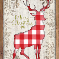 "Merry Christmas plaid deer wooden plaque then framed out with wood.  Handmade. Original Art.  14""x20""x2"""