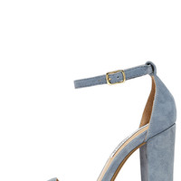 Steve Madden Carrson Blue Suede Leather Ankle Strap Heels