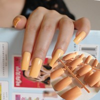 Ultra long Candy Deep Nude Flat Curved DIY False Nails Nail Art Acrylic Tips Press-On Nails Full Wrap Simply Fake Nails tips 200