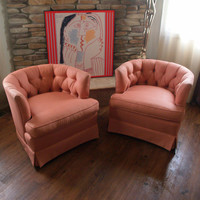 GLAMOROUS VINTAGE CHAIRS 1960s Barrel Back Club Armchair Pair Upholstered in Salmon Pink Silk Fabric Mid Century Swivel