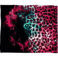 Caleb Troy Leopard Storm Pink Fleece Throw Blanket
