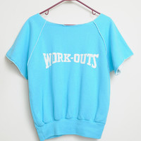 Vintage 80s/90s WORK-OUTS  Cut Up Short Sleeve Teal and White Work Out Top Unisex