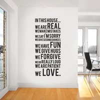 In This House Saying, Wall Decal, Decal Vinyl Wall Decor, Home Decor, Gift Ideas, New Home, House warming gift,  Bedroom Decal