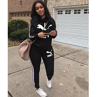 PUMA Women Leisure Print Hoodie Sweater Pants Set Two Piece Sportswear black