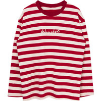 HEART Embroidered Striped Top | mixxmix