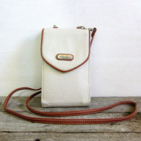 20% OFF SALE Vintage white and brown Wallet Purse w Crossbody Strap