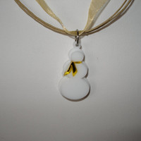 Snowman pendant little snowman with mirrored yellow scarf