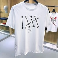 FENDI Fashion Casual Print Short Sleeve T-Shirt Top Tee White